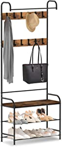 alvorog Coat Rack, Shoe Bench, Vintage 3-in-1 Hall Tree, Shoe Rack for Entryway with 3-Tier Storage Shelf and 12 Hooks Removable, Industrial Accent Furniture with Steel Frame - 31in x 12.6in x 72.8in