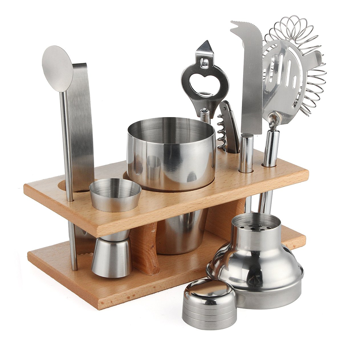 Jeteven Stainless Steel Barware Kit 9 Pcs Cocktail Set - Cocktail Shaker,Ice clip,Measuring Cup,Beer Bottle Opener,Wine Opener,Fruit Knife,Wooden Rack,Ice Filter,Round Straw Spoon