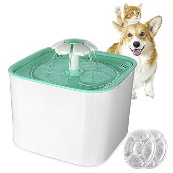 OUkANING Mascotas 901100 – Fuente, Flores – Brunnen automático Gatos Agua Brunnen dispensador de Agua