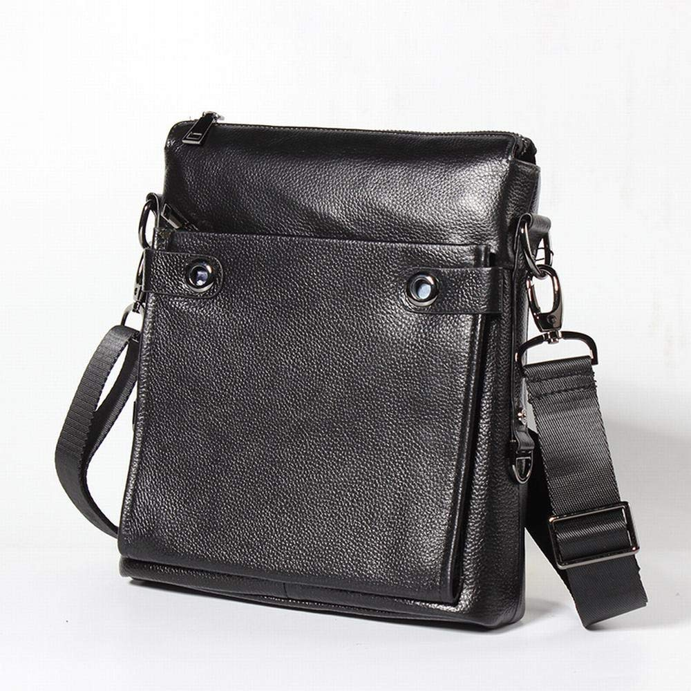 RICHARD BALDWIN Leather Casual Messenger Bag Men Leather Shoulder Shoulder Bag Color : Black