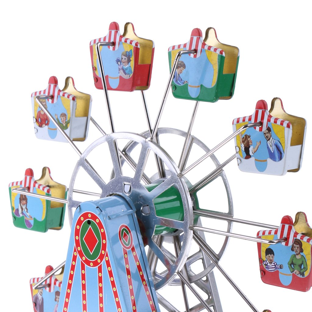 Dovewill Retro Wind up Spinning Ferris Wheel with Music Movement Clockwork Metal Tin Toy Collectible Gift by Dovewill (Image #4)