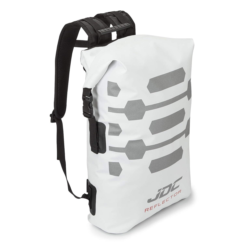 Blanco JDC Mochila para Moto 100/% Impermeable Bolsa Resistente al Agua 30L Reflector