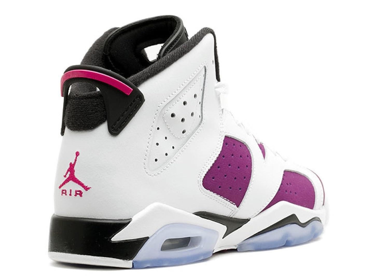 Amazon.com | Jordan Gradeschool Girls Retro 6 (Gs) WHITE/BRIGHT GRAPE/BLACK/VIVID PINK 543390-127 6 | Fashion Sneakers