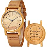 Custom Engraved Wooden Watches Womens - Genuine Cowhide Leather Band Handmade Wood Wrist Watch with Gift Box