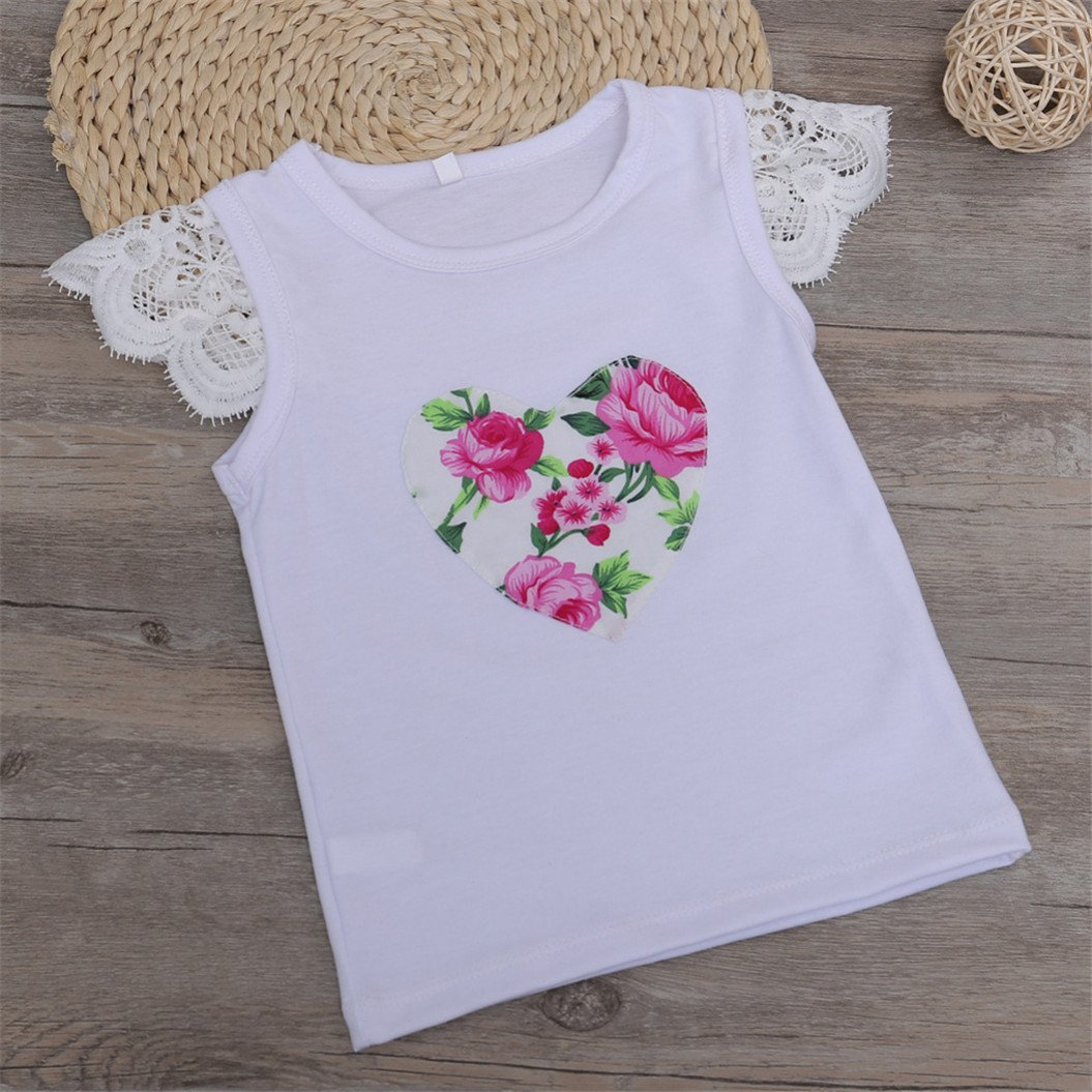 Floralby Kids Baby Girls Flowers Heart Lace Headband Short Sleeves Clothing Set