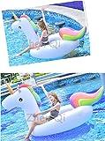 EUVPHAI Riesiges aufblasbares Einhorn Schwimmtier für Pool-Partys, Pool Einhorn Luftmatratze, Aufblasbar Schwimmen Pool Floß PVC Aufblasbarer Schwebebett für 2-3 Personen(275x140x120cm)