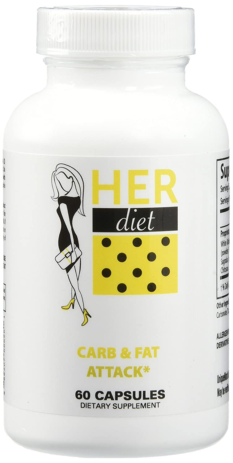 HERdiet Carb and Fat Attack for Women Extra Strength Supplement Carbohydrate & Fat Blocker with Appetite Suppressant Pills
