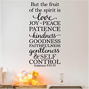 """But the Fruit of the Spirit is Love, Joy, Peace, Patience, Kindness, Goodness, Faithfulness...Galatians 5:22-23 Vinyl Lettering Wall Decal Sticker (42""""H x 20""""W, Black)"""
