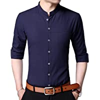 Womleys Mens Long Sleeve Slim Fit Banded Collar Cotton Button Down Dress Shirts