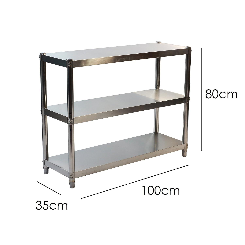 Small 60x80cm /hygienischen K/üche Storage L/ösung/ /3/Etagen GoldbearUK Edelstahl K/üche Regal/