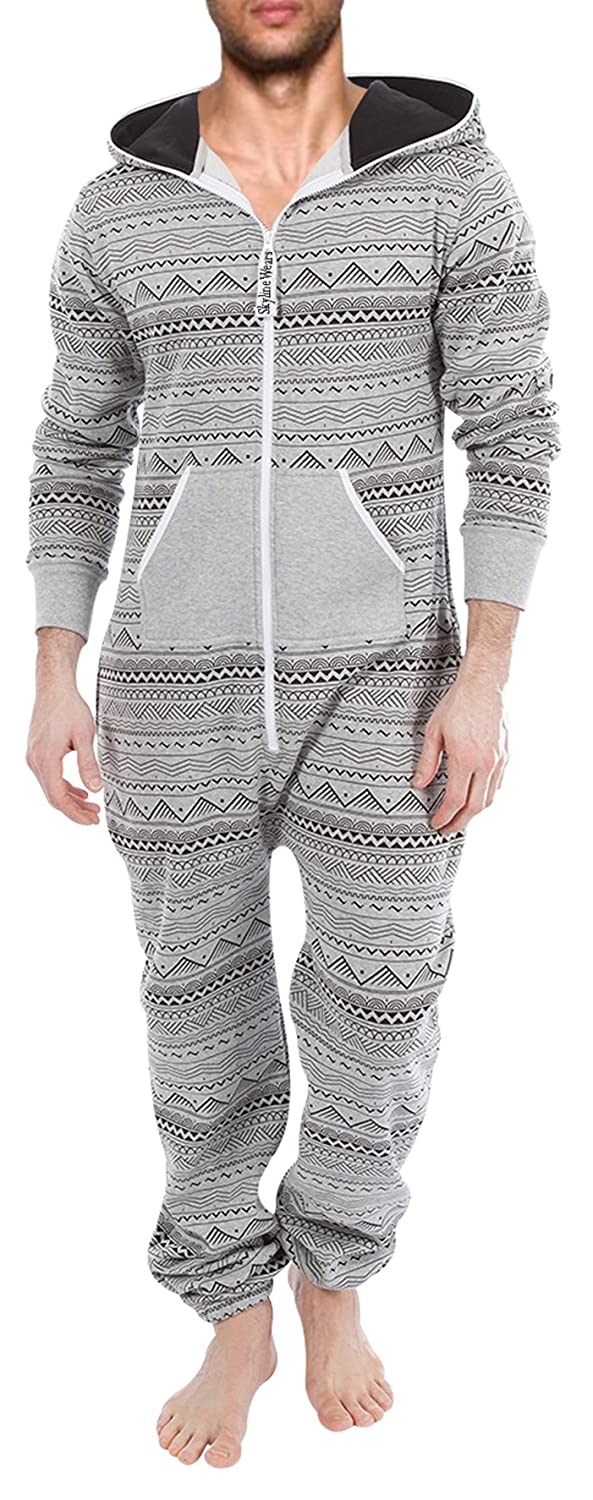 88bde95f8056 Amazon.com  SKYLINEWEARS Men s Fashion Onesie Hooded Jumpsuit One Piece non Footed  Pajamas  Clothing