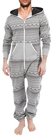 SkylineWears Men's Fashion Printed Onesie Playsuit Jumpsuit All Over Gray S