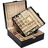 GUKA Jewelry Box Buckle Snap & Detachable Tray Jewelry Display Storage Case Bracelet Necklace Ring Bracelet Storage Box
