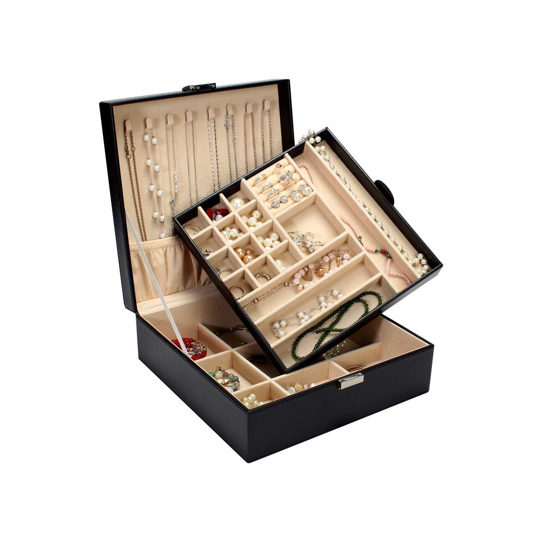 BEGHOME 2-Layer Leather Jewelry Box Buckle Snap & Detachable Tray Jewelry Display Storage Case Bracelet Necklace Ring Bracelet Storage Box by BEGHOME