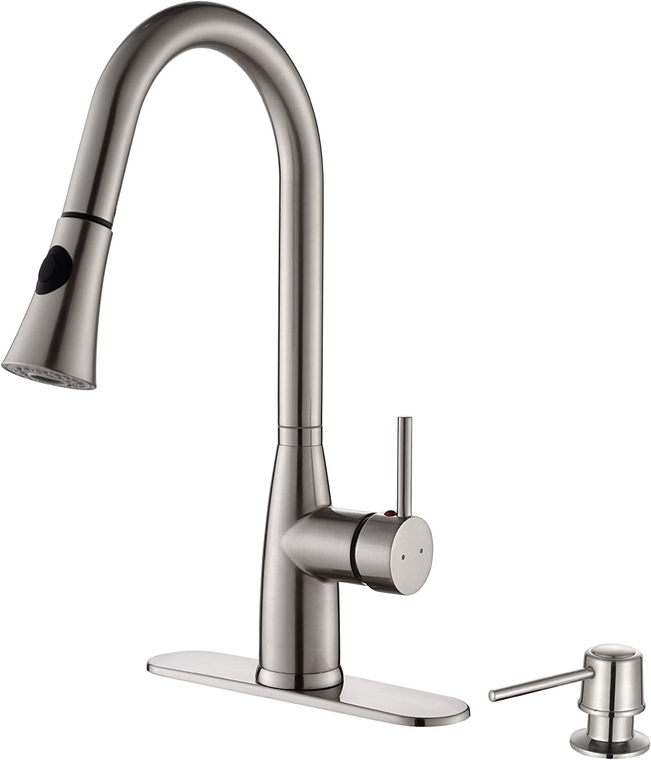 KPF-2300 Kraus Single Lever Pull-down Kitchen Faucet and Soap Dispenser  Stainless Steel Finish