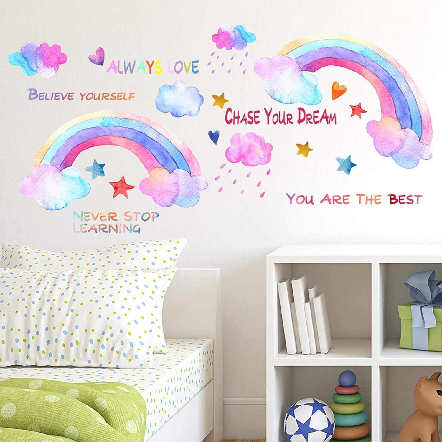 Colorful Rainbows Wall Decals,Proverbs Wall Stickers, ULENDIS Star Heart Cloud Raindrop Wall Sticker, Rainbow Wall Sticker for Kids Room Decor, DIY Mural Art Home Decoration