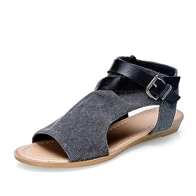 c9926e3d0fd0 APTRO Women s Open Toe Boots Summer Shoes Clip Toe Flat Sandals  730 Black  UK4