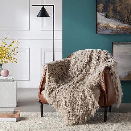 Ojia Super Soft Fuzzy Shaggy Mongolian Lamb Faux Fur Throw Blanket Plush  Warm Cozy Elegant Long 7fc324431