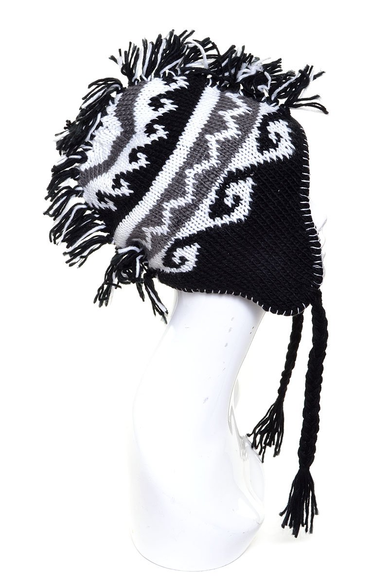 LL Mohawk Hat Knit for Boys Girls Black Tribal Pattern Stripes Cold Weather