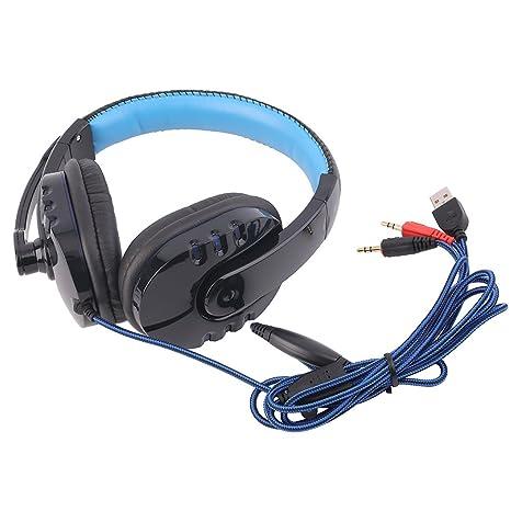 Auricular para Juegos, estéreo con Cable USB Gaming Headset con el Auricular Auricular de Diadema