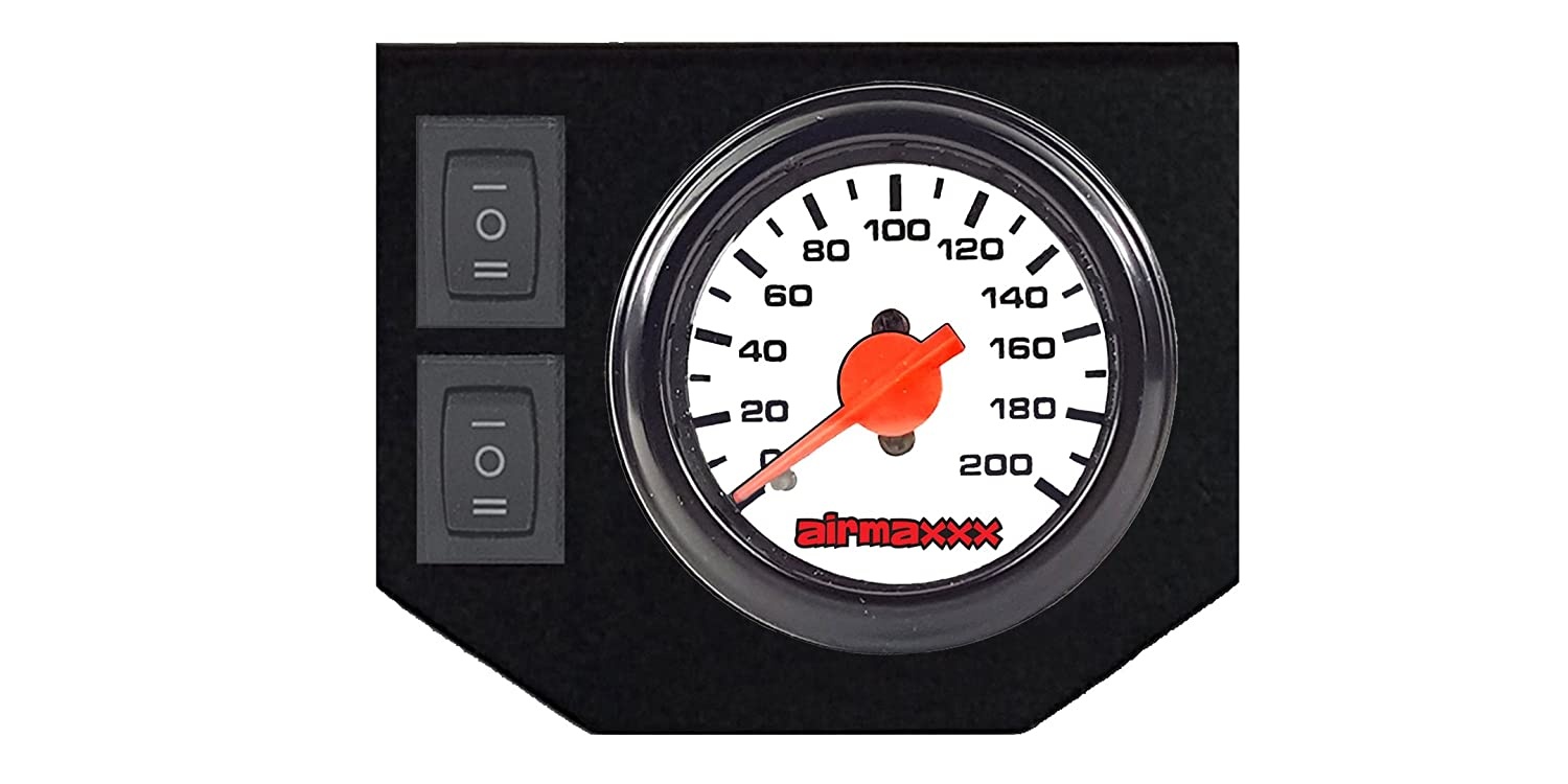 airmaxxx Dual Needle White Air Gauge with Panel & 2 Switch