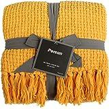 PERSUN ブランケット 毛布 ひざ掛け ソフト 軽量 ニット フリンジ付き ソファー カウチ デコレーション 127x 152cm レモンイエロー