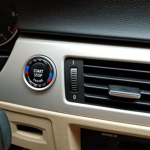 KKmoon Carbon Fiber Schl/üsselanh/änger Aufkleber F/ür BMW E90 E92 E93 Auto Motor Start Stop Z/ündung Schl/üsselanh/änger Aufkleber Kohlefaser Kreis 3 Serie Zubeh/ör