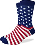 Good Luck Sock Men's American Flag Crew Socks,Large (Shoe size 7-12),Blue