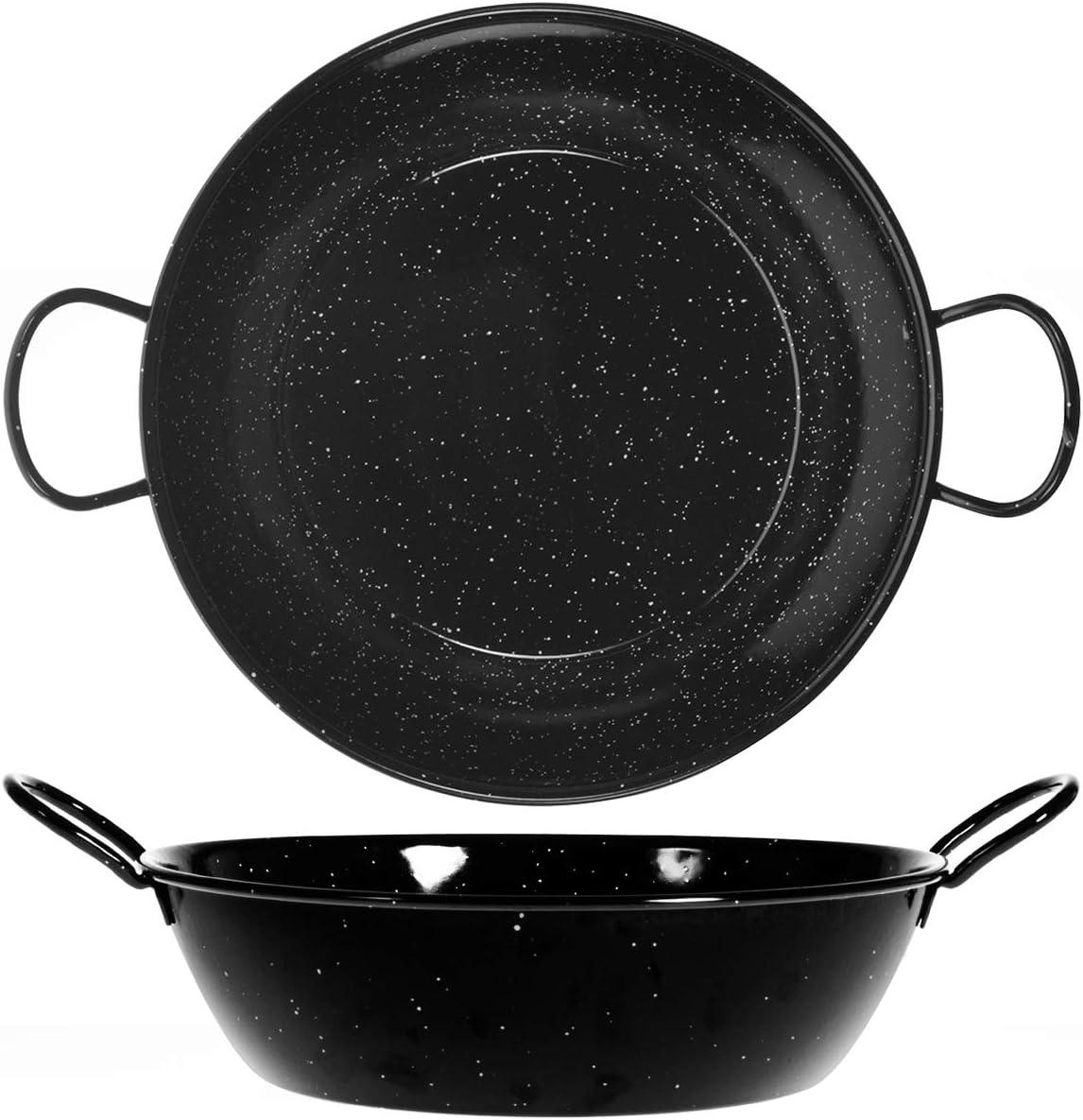 Vaello La Valenciana Honda Chimney Panel Enamelled Steel Sling Pan Black 20 cm