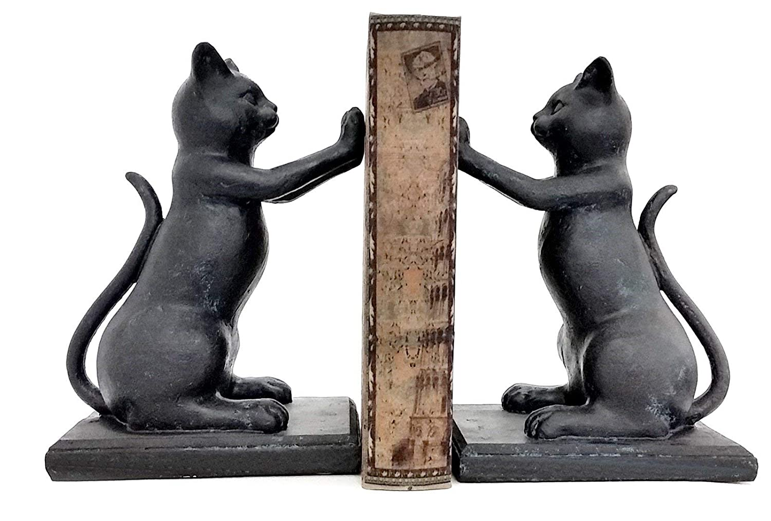Bellaa 23033 Feline Shelf Decor Decorative Cat Bookend Set for Cat Lovers Black Playful Kitty High Five