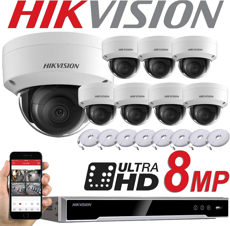 HIKVISION DS-7608NI-K2/8P DS-2CD2185FWD-I - Sistema con grabación de vídeo en red, 8 cámaras de 8 MP, sistema de circuito cerrado de televisión, cámaras IP PoE, 2,8 mm, cámaras domo digitales