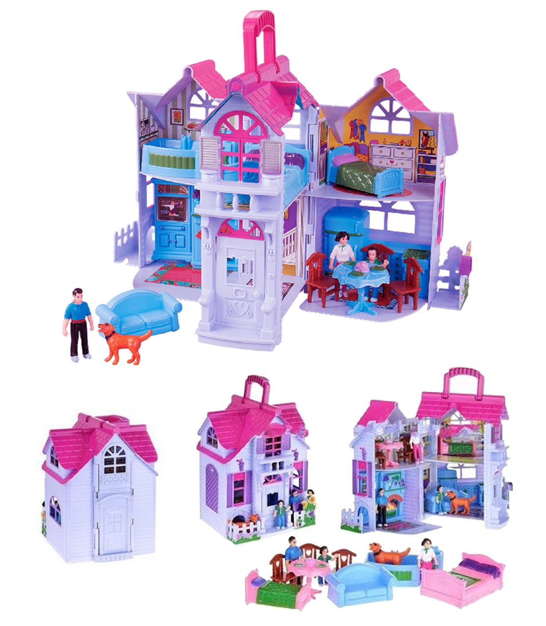 Liberty Imports My Sweet Home Fold And Go Pretend Play Charger Fenglong Mini Dollhouse With Furniture Accessories Toys Games