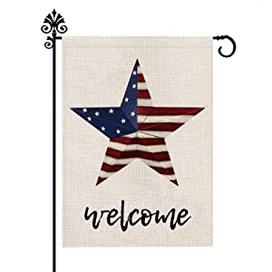 Fourth of July Day Garden Flag American USA Flag Double Sided Vertical Burlap Patriotic Peace Star Outdoor Decorations Farmhouse Yard Decor 12.5 x 18 Inch