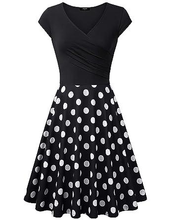 b4c162541ca Lotusmile Elegant Dresses, Womens Casual Dress A Line Cap Sleeve V Neck (Black  White