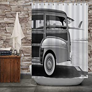 MOOCOM Old Woodie Station Wagon with Surfboard,Shower Curtain Wood Material for Bathroom Decor 84''Wx72''H