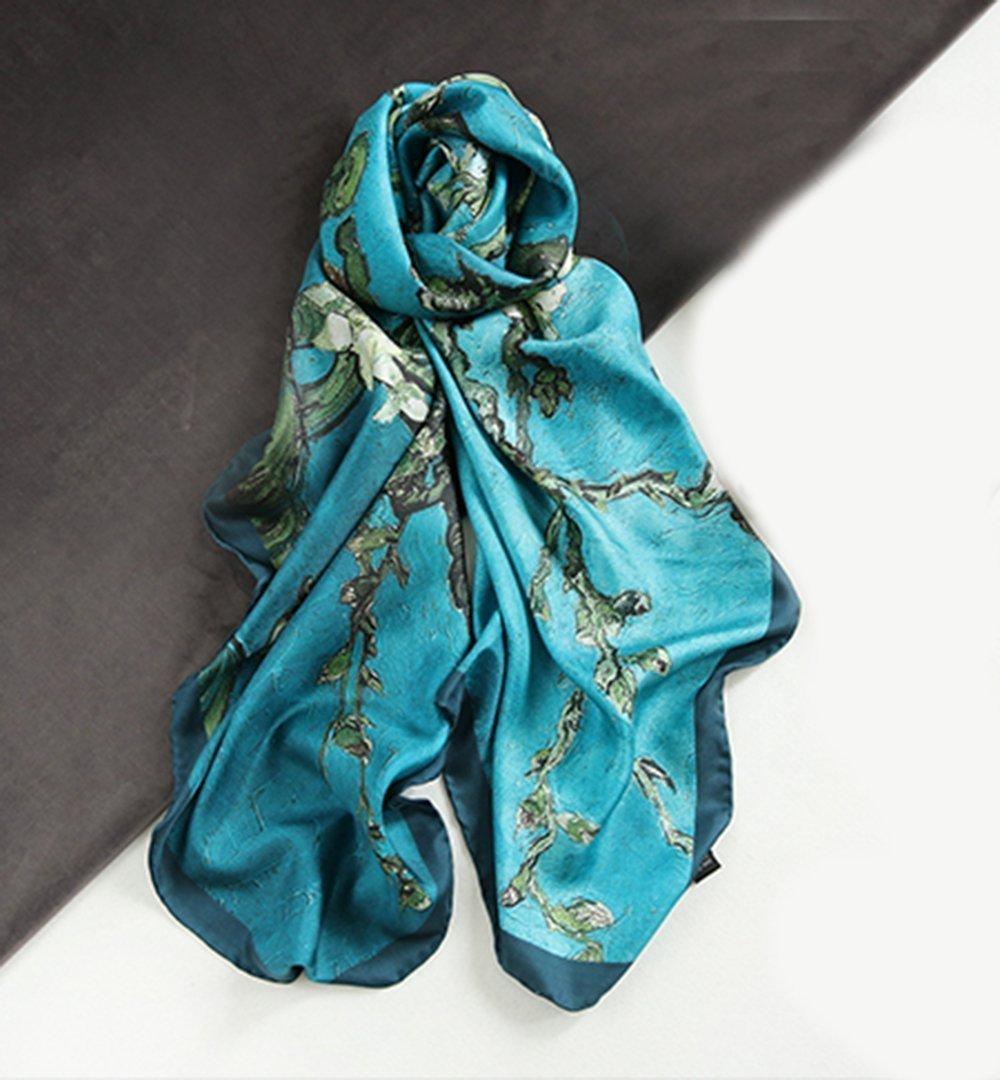 100% silk Hand crimping digital print Van Gogh Almond Blossoms 135x135cm silk scarf