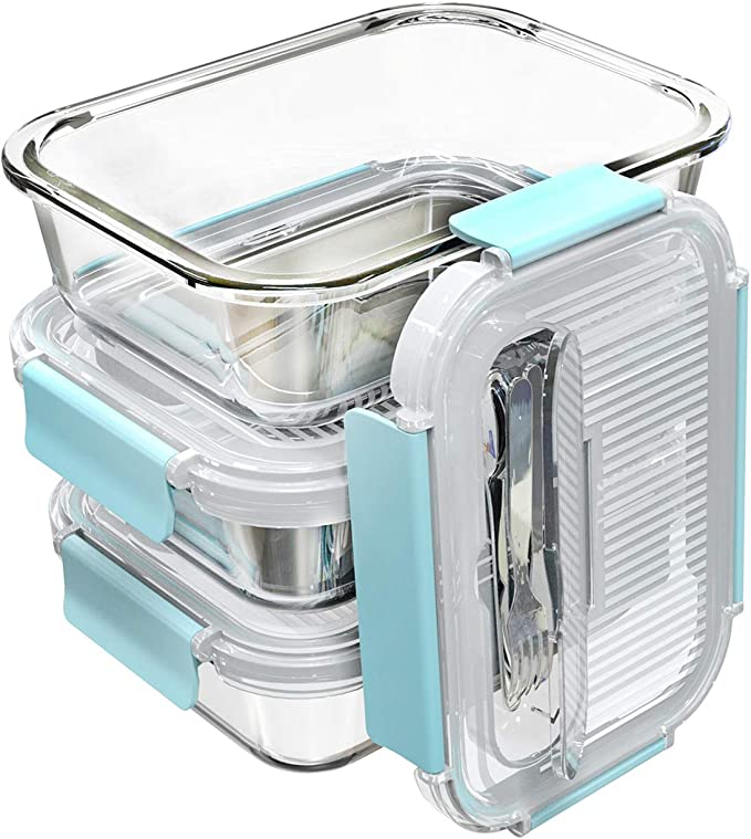 Transparent lid three boxes lunch box food for work travel tableware ATF