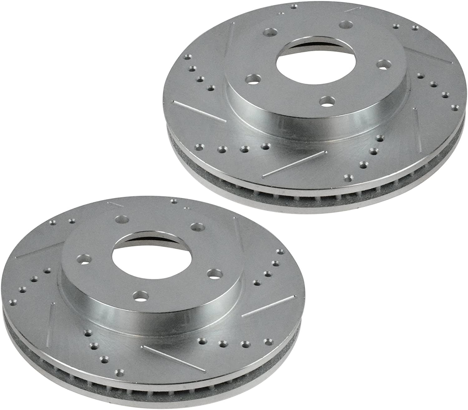 Nakamoto Brake Rotor Drilled /& Slotted Coated /& Ceramic Pad Rear Set for Toyota