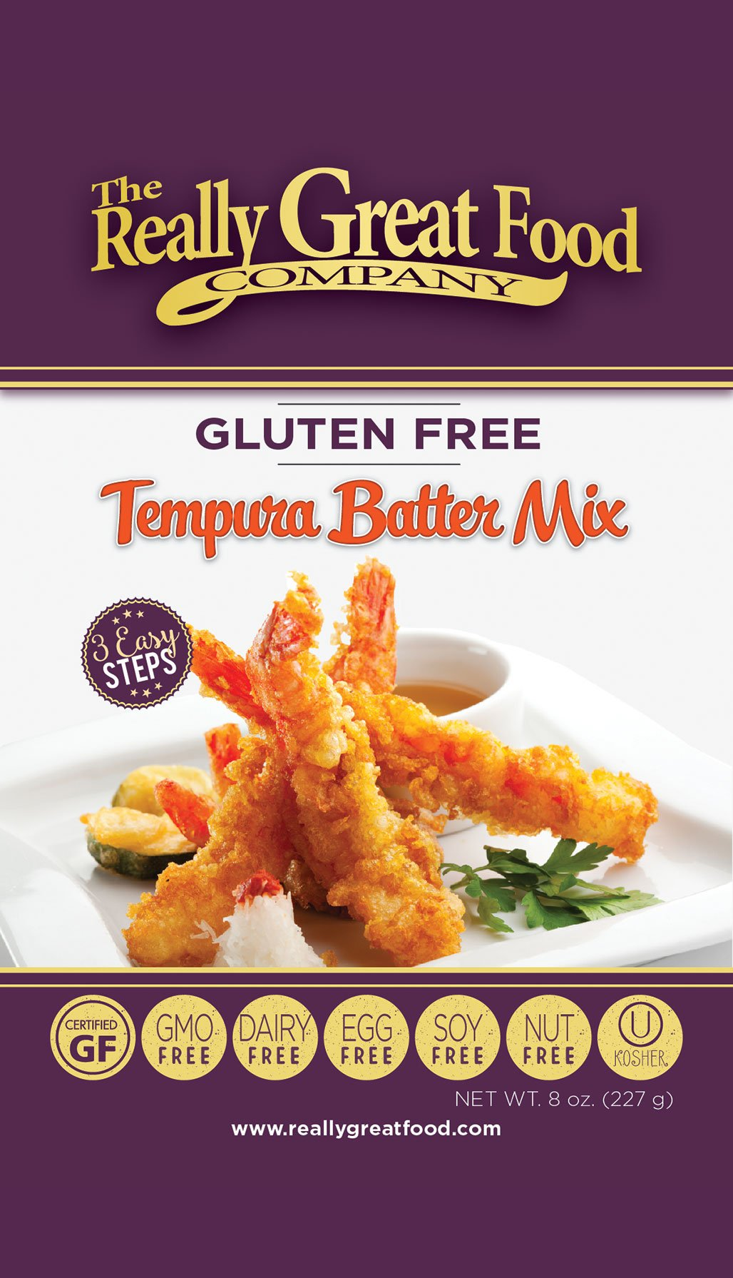 Really Great Food Company – Gluten Free Tempura Batter Mix – 8 ounces - Great for fish, chicken, and vegetables - No Soy, Nuts, Eggs, Dairy - Vegan and Kosher (3 Pack)