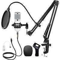 Huryfox Micrófono de Condensador USB Microfonos PC Grabación Patrón Polar Cardioide para Gaming Grabar Música y Video…