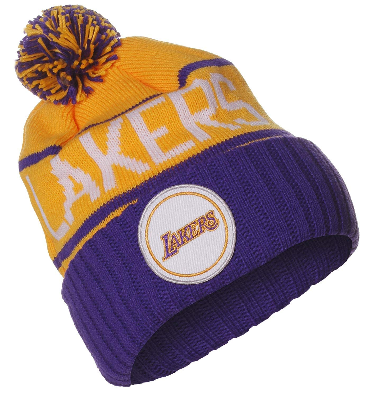 3997d41811f Amazon.com   Mitchell   Ness NBA Los Angeles Lakers High 5 Pom Pom Beanie  Cuff Knit Hat   Sports   Outdoors