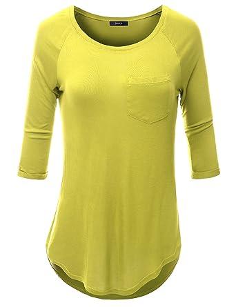 774346c2bc2ef Doublju Women Unique One Pocket 3 4 Sleeve Tunic Yellow