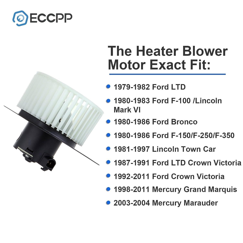 Hvac Plastic Heater Blower Motor W Fan Cage Eccpp Fit 1986 Ford Ltd Wiring Diagram For 1979 1982 1980 1983 F 100 Lincoln Mark Vi