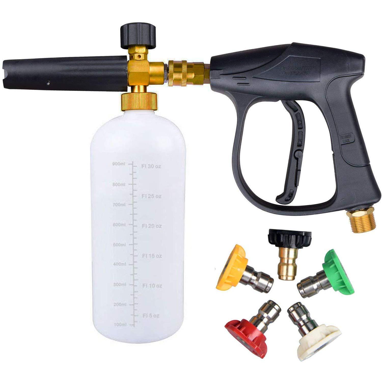 UCFOAM UC-996 3000 PSI High Pressure Washer Gun, M22 Thread, Snow Foam Lance, Snow Foam Cannon with 5 nozzle tips