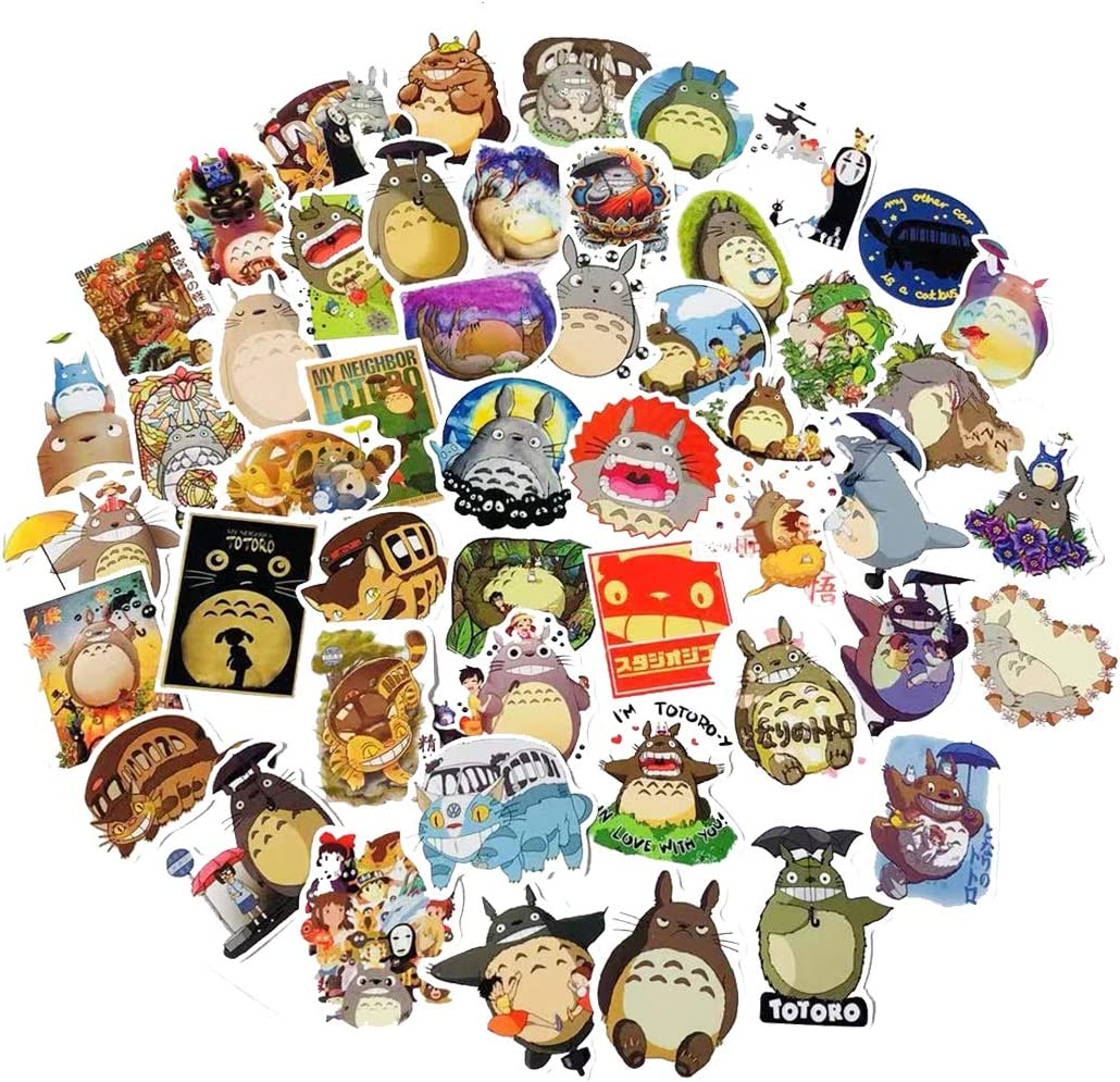 Totoro Miyazaki Pack50 Pcs Car Stickers Motorcycle Bicycle Skateboard Luggage Decal Graffiti Patches Skateboard Stickers for Laptop - UV Resistant Waterproof Vinyl Stickers(Totoro Miyazaki)
