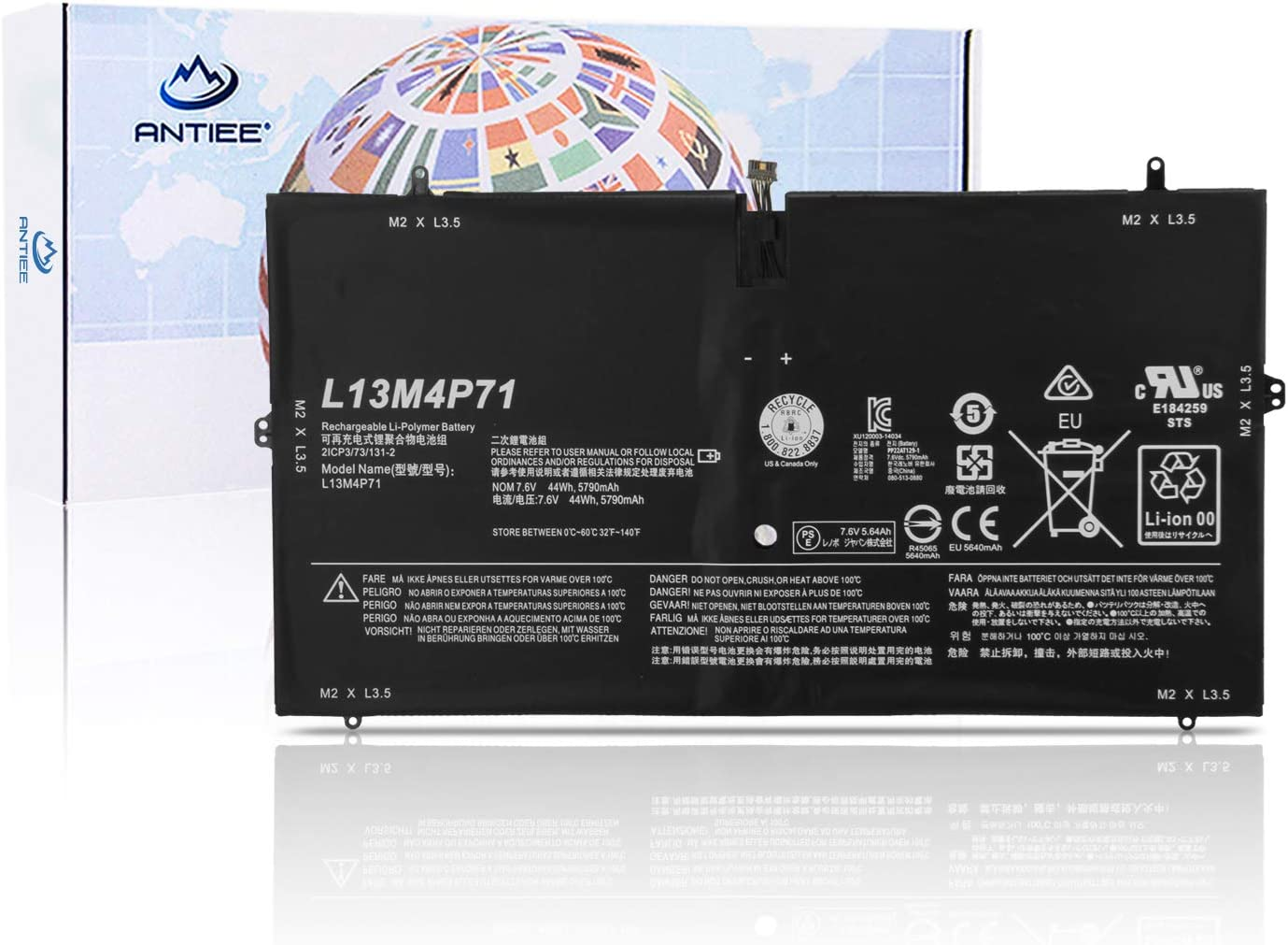ANTIEE L13M4P71 L14S4P71 Laptop Battery Replacement for Lenovo Yoga 3 Pro 1370 Pro-1370-80HE Pro-5Y71 Pro-I5Y51 Pro-I5Y70 Pro-I5Y71 Series 7.6V 44Wh 5790mAh