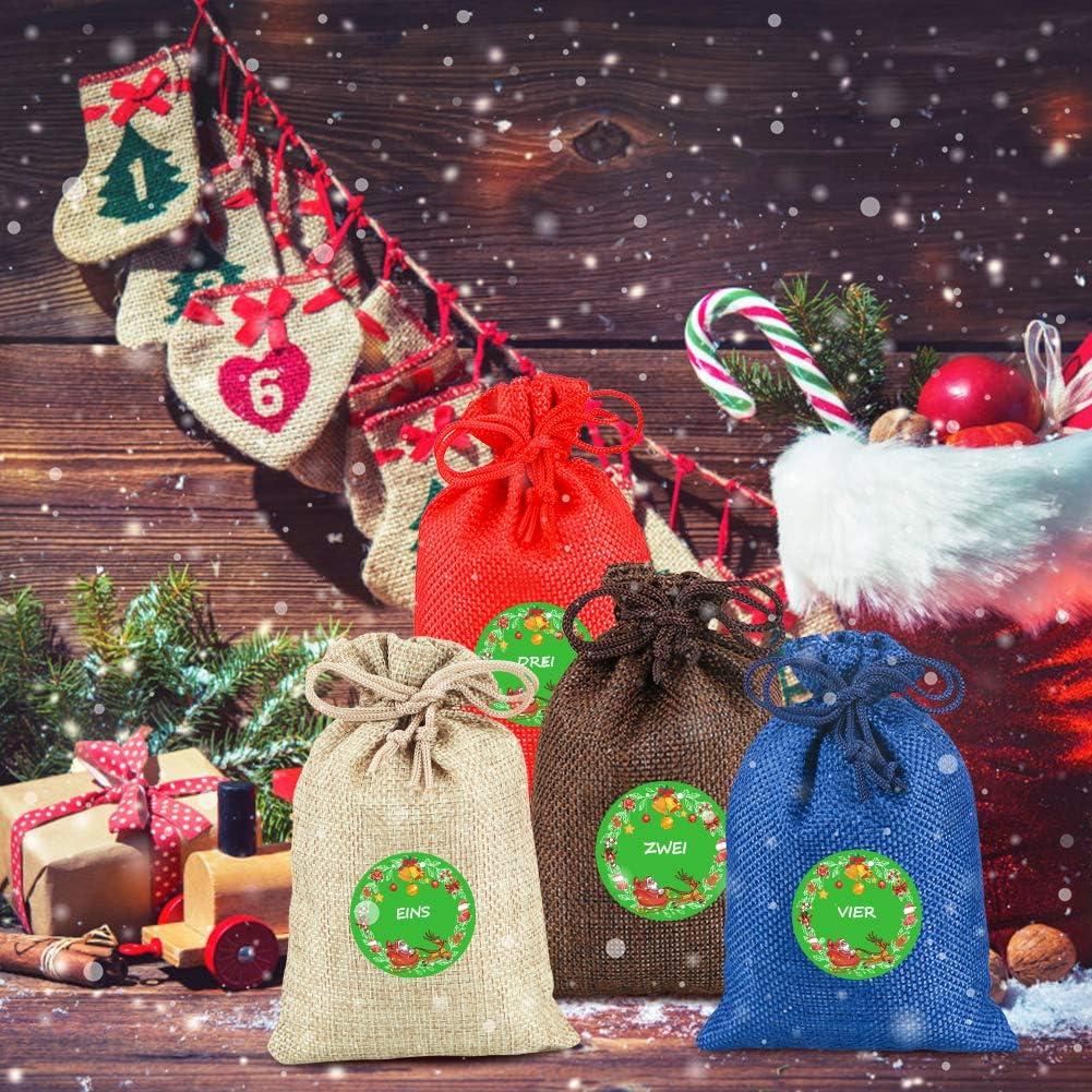 FHzytg Weihnachtskalender zum Bef/üllen Adventskalender zum Bef/üllen Adventskalender Kinder 24 Weihnachtsclip Adventskalender Bastelset Weihnachtskalender f/ür Kinder Aufkleber 1-24 Weihnachten