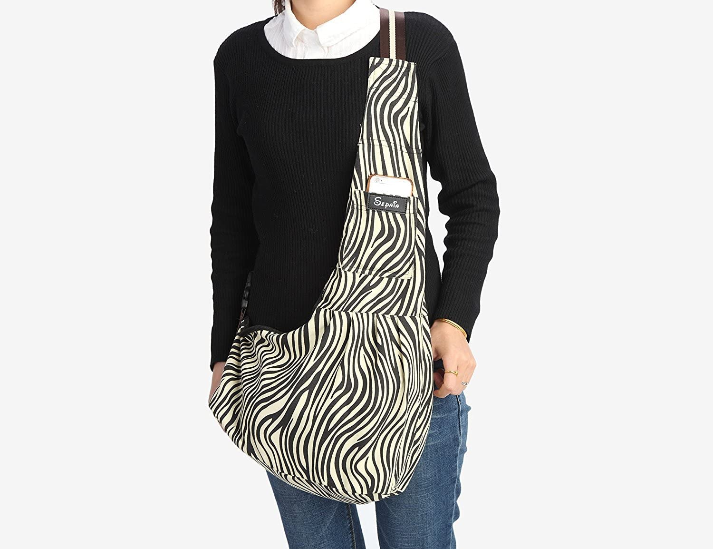 Sepnine Canvas Zebra Strip Pet Carrier Shoulder Bag with Extra Pocket for Cat Dog and Small Animals