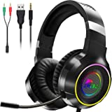 NJSJ RGB Gaming Headset with Microphone for PS4, PS5, Xbox One, PC Headset with Stereo Surround Sound-RGB Flowing Light-Memor