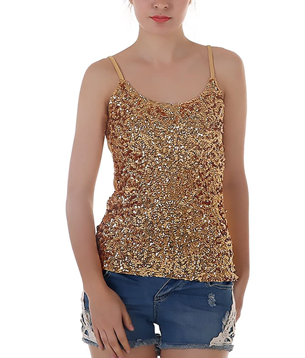 BoBoLily Canotta Donna Elegante Estate Tops Senza Maniche Slim Fit Vintage Moda Paillettes per Festa Party Cocktail Canottiere Blusa Top